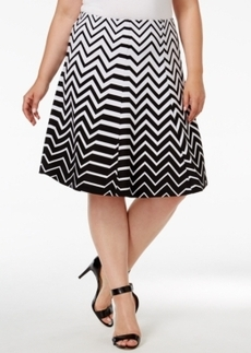 Alfani Plus Size Ombre Zigzag-Print A-Line Skirt, Only at Macy's