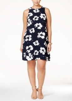 Alfani Plus Size Pleat-Back Printed Dress, Only at Macy's