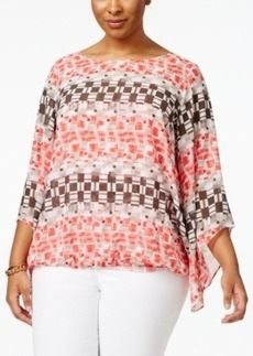 Alfani Plus Size Printed Angel-Sleeve Top, Only at Macy's