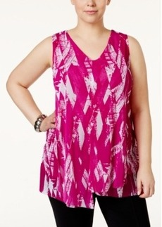 Alfani Plus Size Printed Asymmetric Tunic, Only at Macy's