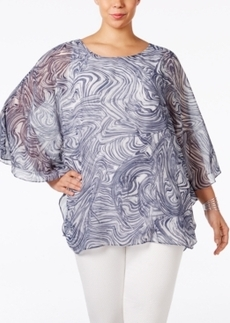 Alfani Plus Size Printed Chiffon Blouse, Only at Macy's