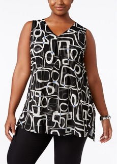 Alfani Plus Size Printed Chiffon-Overlay Top, Only at Macy's