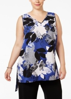 Alfani Plus Size Printed High-Low Shell, Only at Macy's