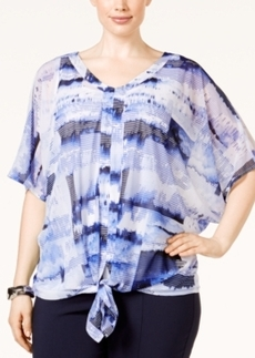 Alfani Plus Size Printed Tie-Front Top, Only at Macy's