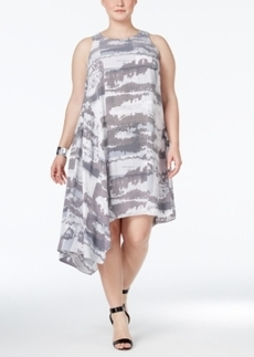 Alfani Plus Size Sleeveless Asymmetrical Dress, Only at Macy's
