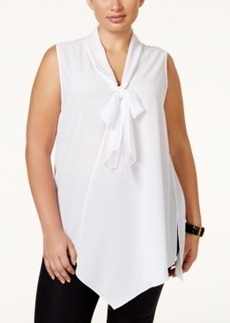 Alfani Plus Size Sleeveless Tie-Neck Blouse, Only at Macy's
