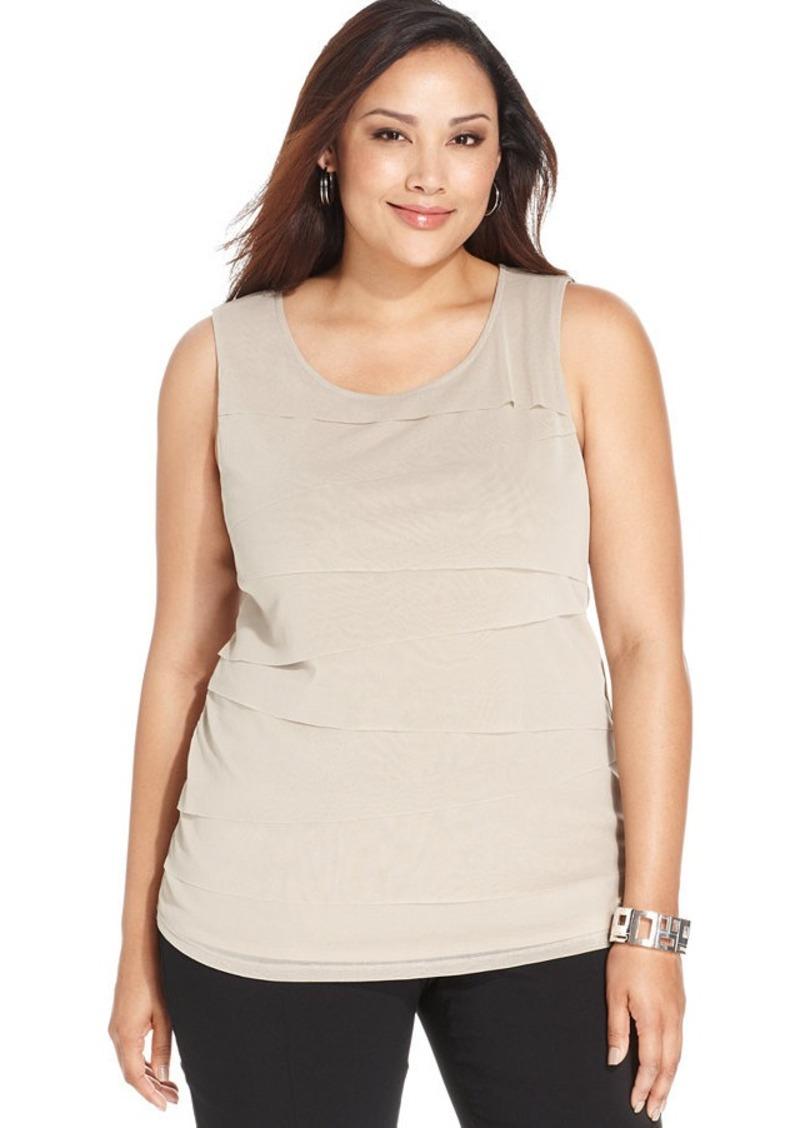 Alfani Plus Size Sleeveless Tiered Top