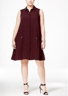 Alfani Plus Size Trapeze Shirtdress, Only at Macy's