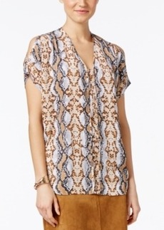 Alfani Prima Tribal-Print Cold-Shoulder Blouse, Only at Macy's