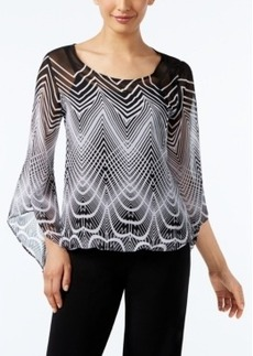Alfani Printed Angel-Sleeve Blouson Top, Only at Macy's