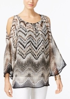 Alfani Printed Cold-Shoulder Peasant Blouse, Only at Macy's