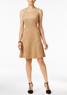 Alfani Sleeveless Faux-Suede Fit & Flare Dress, Only at Macy's