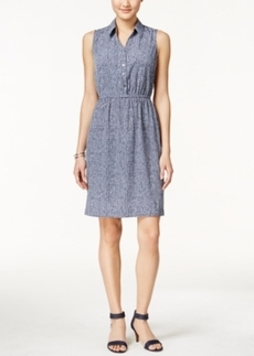 Alfani Texture A-Line Sleeveless Shirtdress, Only at Macy's