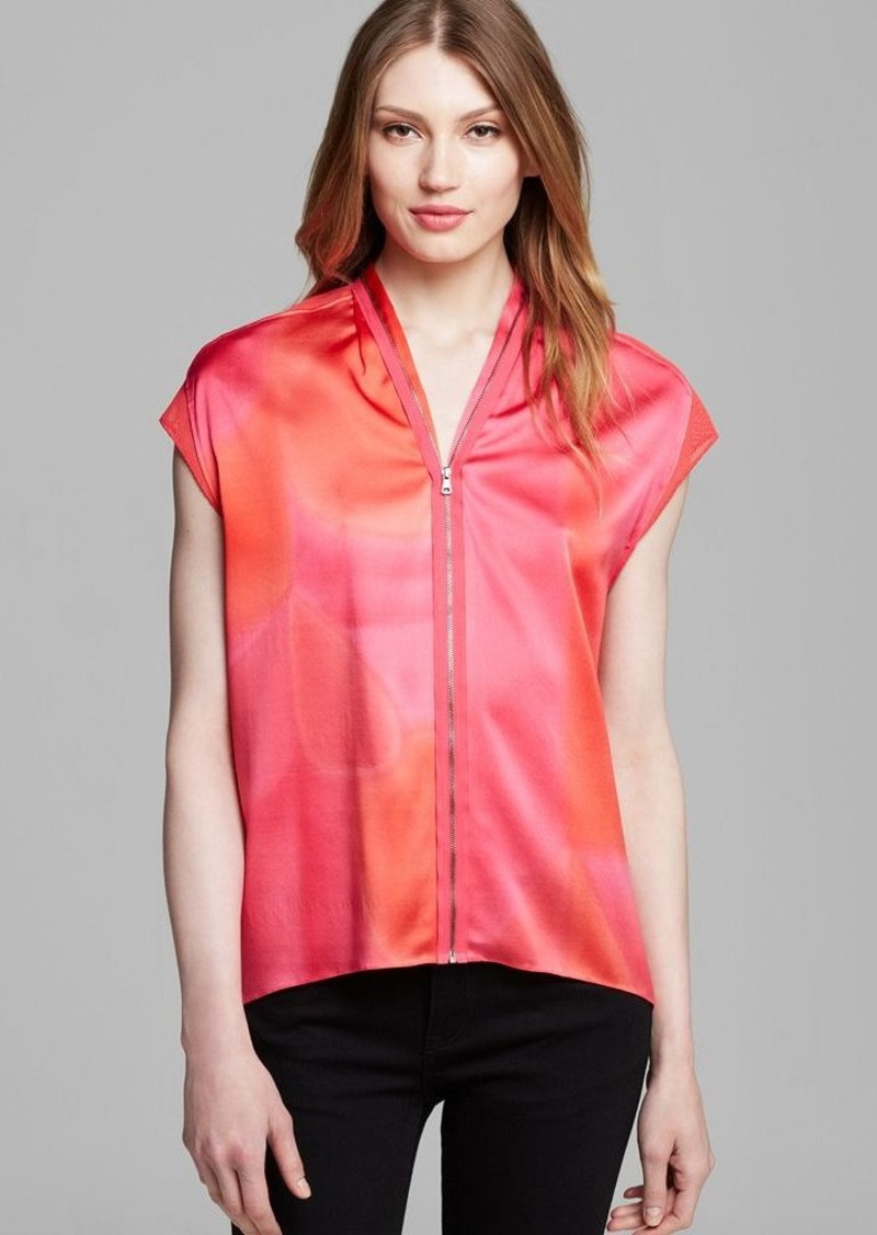 Elie Tahari Dallas Zip Front Blouse