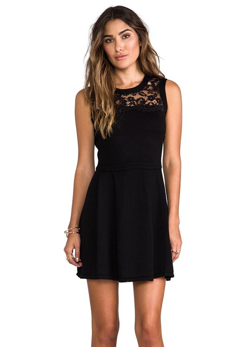 Shoshanna Lace Yoke Sweater Dress in Black