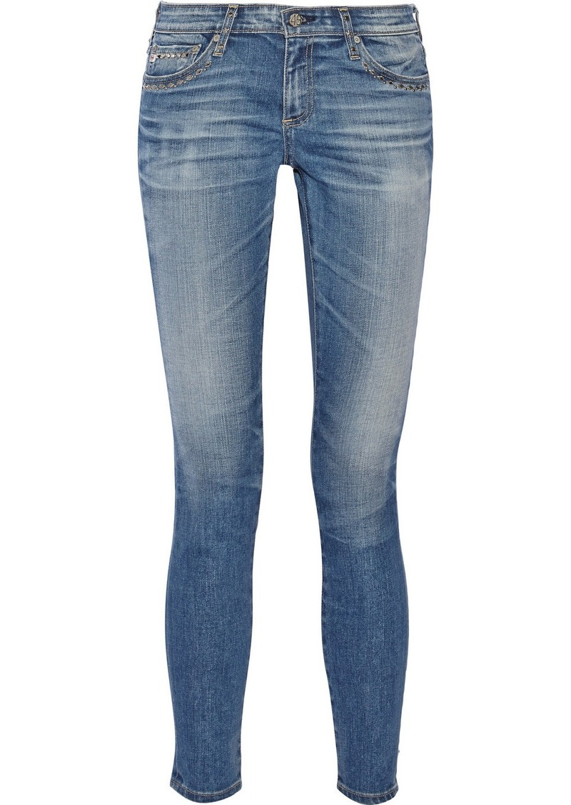 AG Jeans The Legging Ankle studded mid-rise skinny jeans