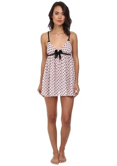 Betsey Johnson Bow Flocked Chiffon Babydoll