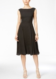 Betsey Johnson Cap-Sleeve Polka-Dot A-Line Dress
