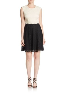 Betsey Johnson Colorblock Lace A-Line Dress