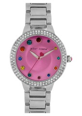 Betsey Johnson Crystal Index Bracelet Watch, 39mm