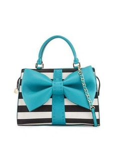 Betsey Johnson Curtsy Striped Bow Satchel Bag