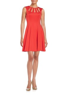 Betsey Johnson Cutout-Neckline Fit-&-Flare Dress