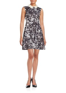 Betsey Johnson Faux Pearl Collar Floral-Print Fit-&-Flare Dress