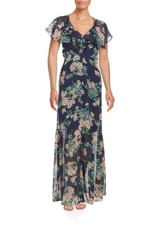 BETSEY JOHNSON Floral Chiffon Maxi Dress