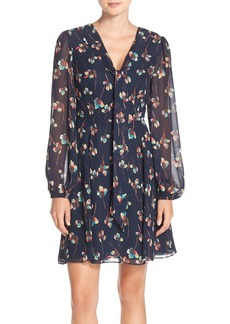 Betsey Johnson Floral Fit & Flare Chiffon Dress