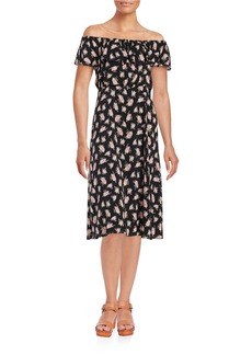 BETSEY JOHNSON Floral Off-the-Shoulder Midi Dress