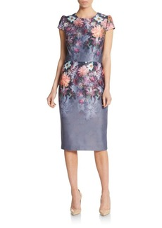 Betsey Johnson Floral-Print Short-Sleeve Sheath Dress
