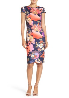 Betsey Johnson Flower Print Scuba Sheath Dress
