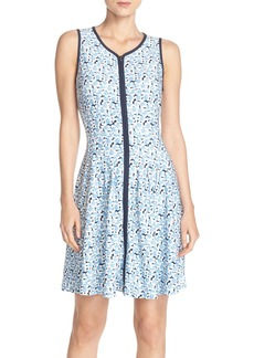 Betsey Johnson Front Zip Scuba Fit & Flare Dress