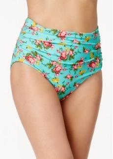 Betsey Johnson High-Waist Ruched Floral Swim Bottom Women's Swimsuit