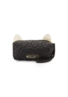 Betsey Johnson Kitchi Cat Quilted Heart Cosmetics Bag