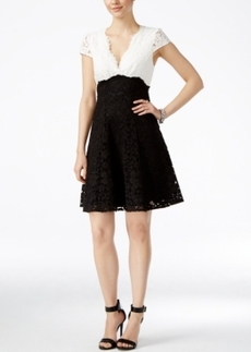Betsey Johnson Lace Colorblocked Fit & Flare Dress