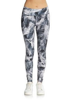 Betsey Johnson Performance Fancy Feather-Print Leggings
