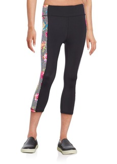 Betsey Johnson Performance Print Paneled Capri Leggings