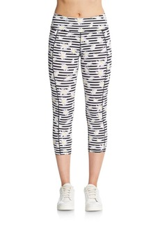 Betsey Johnson Performance Striped Daisy Performance Leggings