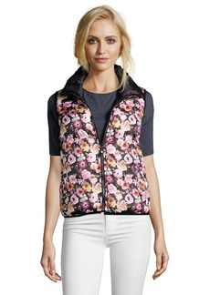 Betsey Johnson pink and black floral print reve...