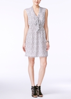 Betsey Johnson Polka-Dot Tie-Neck Sheath Dress