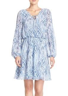 Betsey Johnson Print Chiffon Blouson Dress