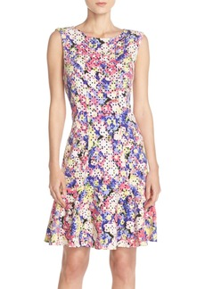 Betsey Johnson Print Laser Cut Scuba Fit & Flare Dress