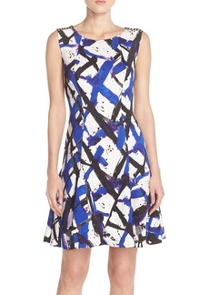 Betsey Johnson Print Scuba Fit & Flare Dress