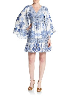 Betsey Johnson Printed Bell Sleeve Babydoll Dress