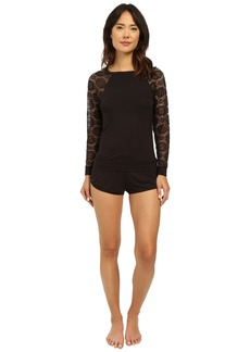 Betsey Johnson Rayon Knit & Lace Short Set