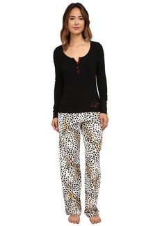 Betsey Johnson Rib and Flannel Pajama