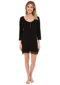 Betsey Johnson Rib Knit Ruffled Sleepshirt