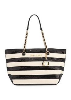 Betsey Johnson Sequin Love Striped Tote Bag