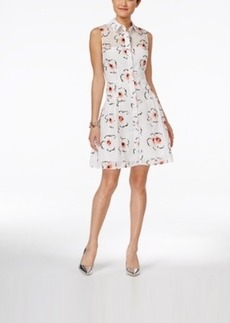 Betsey Johnson Sleeveless Gingham Floral Shirtdress